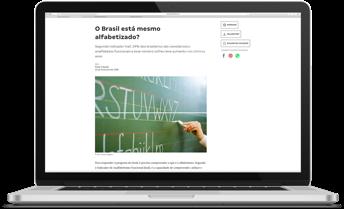 Computador mostrando o site da Nova Escola