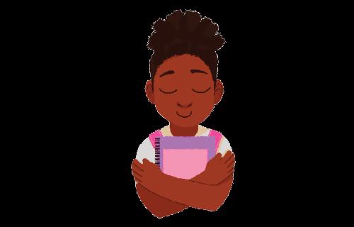 Ilustração de uma aluna de olhos fechados abraçando seu material escolar