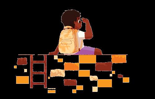 Ilustração de um aluno sentado em cima de um muro olhando o horizonte