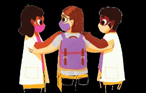 Duas professoras com a mão em cima do ombro de uma aluna