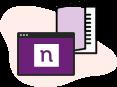 Ilustração de uma caderno e um navegador