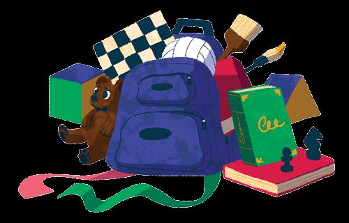 Ilustação de uma mochila cheia de brinquedos