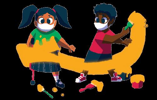 Ilustração de duas crianças brincando com tinta