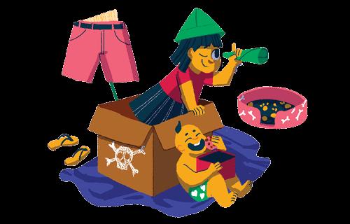 Ilustração de uma criança brincando de pirata