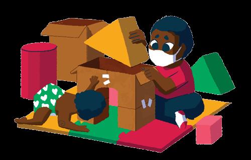 Ilustração de uma criança montando um castelo