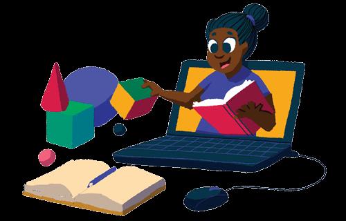 Ilustração de uma professora ensinando através do computador