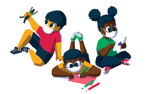 Ilustração de 3 crianças brincando
